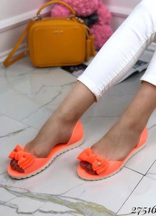 Яркие силиконовые балетки, босоножки оранжевые
