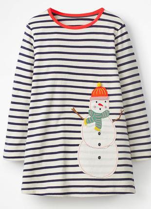 Платье для девочки, синие. снеговик.