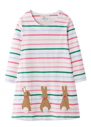 Платье для девочки, белое. кролики.