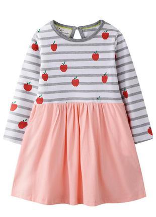 Платье для девочки, персиковое. яблочки.