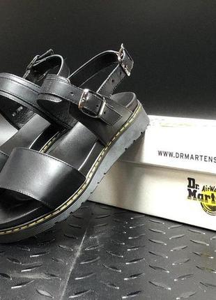 Женские кожаные босоножки dr. martens sandals ◈ сандалии черного