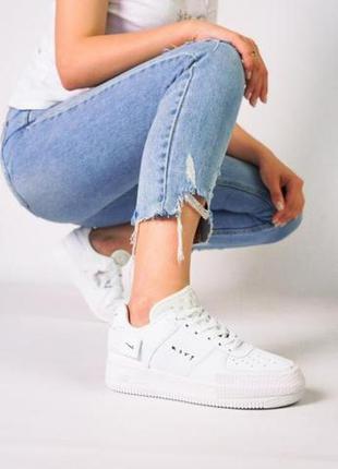 Женские кожаные кроссовки nike air force ◈ кеды ◈ белого цвета 😍