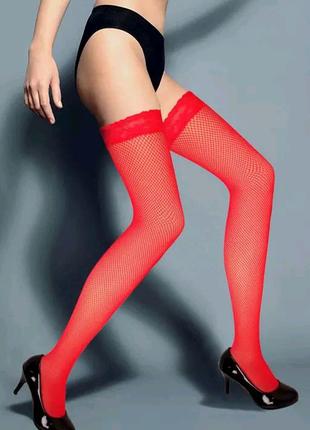 Чулки женские сетка красные