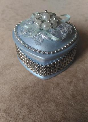 Шкатулка для украшений сердечко лилового цвета