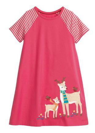 Платье для девочки, розовое. олененок.
