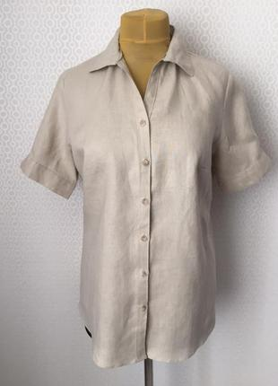 Льняная рубашка благородного натурального цвета от adagio ,раз...