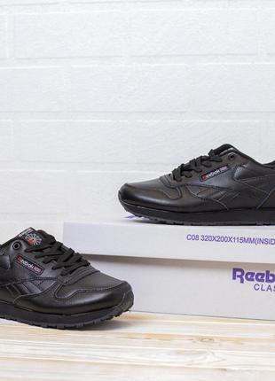 4089 Reebok Classic черные кожа кроссовки женские рибок кросовки