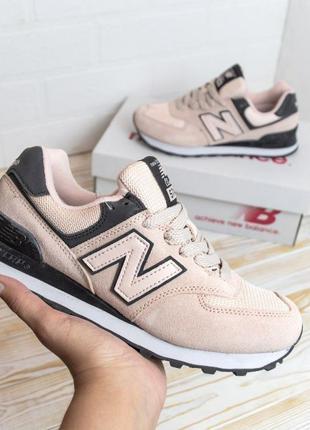 4086 New Balance 574 розовые кроссовки женские нью баланс кеды...