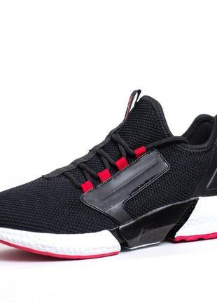 3107 Supo чёрные с красным кроссовки мужские сетка летние крос...
