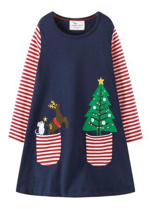 Платье для девочки, синее. елка.