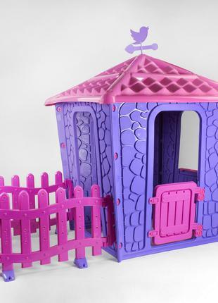 Детский игровой домик с оградой Pilsan Stone 06-443 сиренево-лило