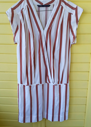 Платье летнее короткое в полоску полосатое zara xs