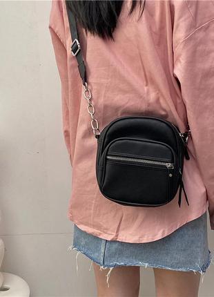 Женская сумка мессенджер черная кожаная мини рюкзак с цепочкой