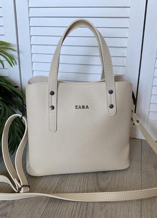 Шикарная летняя сумка бежевого цвета