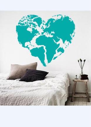 Наклейка на стену Карта мира сердцем (карта сердечком, любовь к п