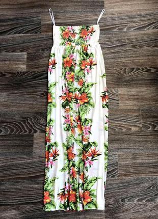 Новое белое длинное макси платье сарафан в пол цветочный принт...