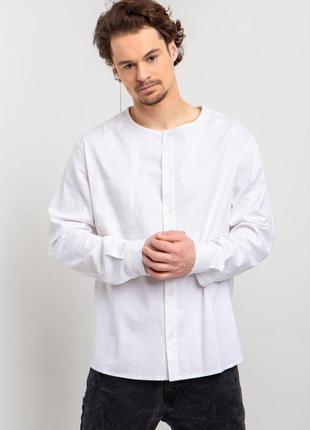 Прямая рубашка из белого льна без воротника с длинными рукавам...