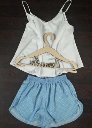 Пижама шелковая с шортами и майкой