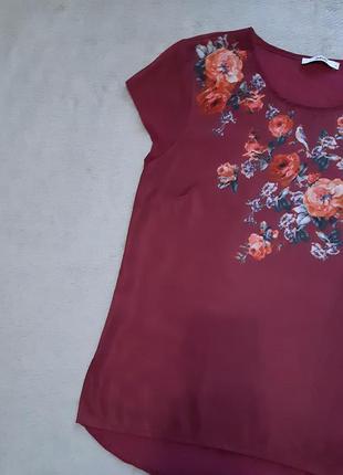 Блузка короткий рукав в цветах принт размер 10 oasis
