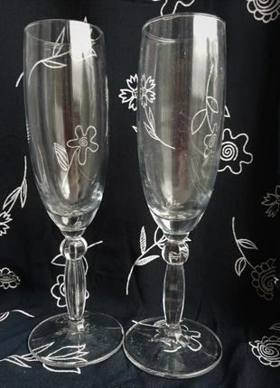 Свадебные бокалы для шампанского 2шт