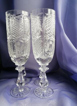 Свадебные хрустальные бокалы для шампанского 4 шт