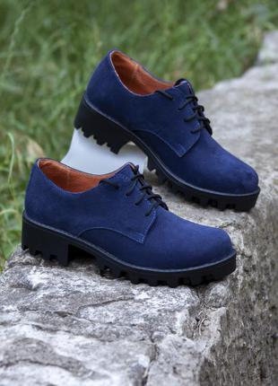 Темно синие замшевые туфли 36 размера
