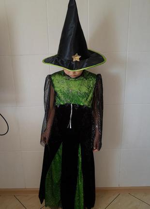 Карнавальный костюм ведьма на хэллоуин на 7-10 лет