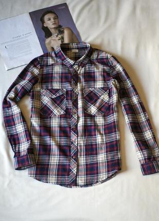 Хлопковая фиолетовая рубашка в клетку pimkie (франция), размер l
