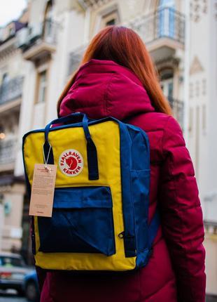 Рюкзак fjallraven kanken yellow  blue купить фьялравен канкен ...