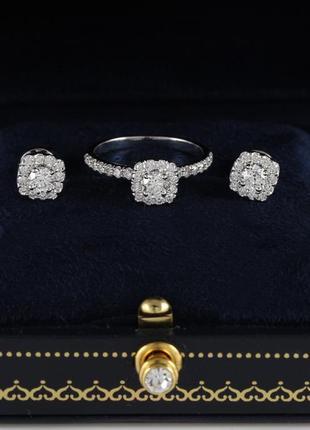 Комплект: кольцо и серьги-пусеты из белого золота с бриллиантами