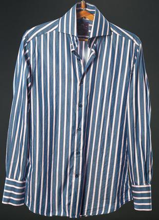 Hurst & curtis мужская рубашка голубая и розовая полоска