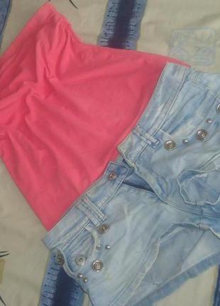 Комплект джинсовые шорты+топ!