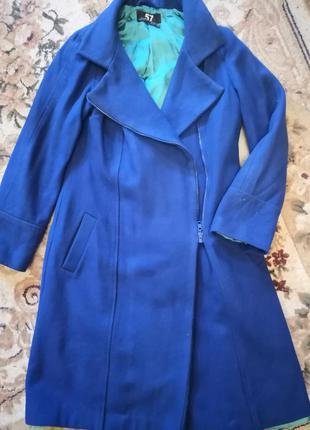Синее пальто, длинное пальто