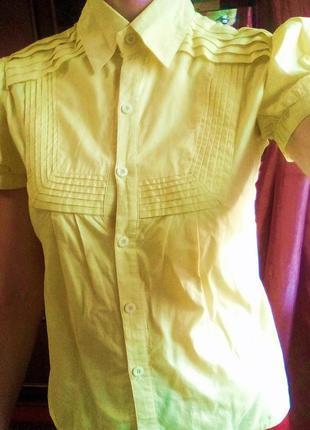 Желтая рубашка рукава-фонарики