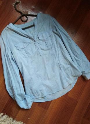 Легкая нежно-голубая рубашка! распродажа!