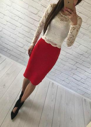 Костюм топ+юбка миди
