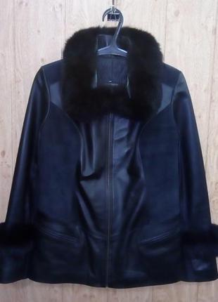 Кожаная куртка с мехом песца/куртка/полушубок/пуховик/пальто/ш...