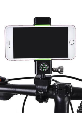 Велодержатель для телефона, смартфона Q003+2Led, 360º, компас