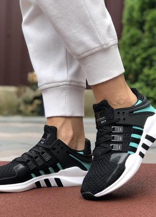 Замечательные женские кроссовки adidas equipment чёрные с бирю...