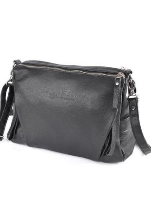 Молодежная женская сумка через плечо черная кроссбоди кожаная