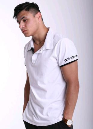 Футболка поло белая с белым логотипом Adidas