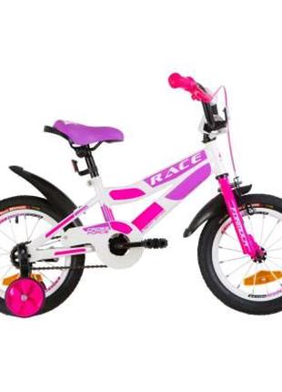 """Детский велосипед Formula 14"""" RACE рама-8,5"""" 2019 бело-малиновый"""