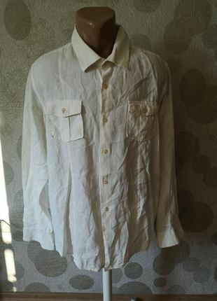 Льняная мужская приталенная  рубашка с карманами