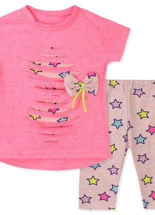 Костюм для девочки, розовый. неоновые звезды.