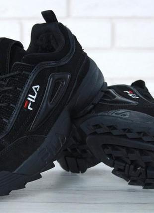 Зимние мужские замшевые кроссовки с мехом fila.