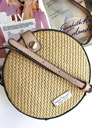 Ідеальна літня кругла сумка з плетеними вставками 4 відтінки
