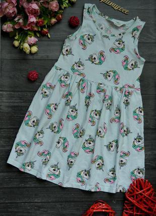Платье в эдинорогах h&m 4-6дет