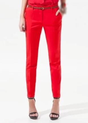 ❤️❤️❤️брендовые красные брюки zara  размер s