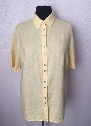 Льняная рубашка цвета сливочного масла от ulla popken, размер ...