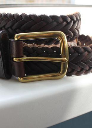 Кожаный ремень плетеный woolrich full grain leather